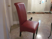 4 red parsons chairs