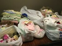 Huge lot of 0-3m girls clothes, pjs, shoes, slippers, bibs...