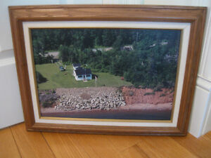 BEAUTIFUL OLD VINTAGE PROFESSIONALLY FRAMED AERIAL PHOTOGRAPH