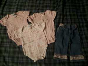 Baby onesies and jeans, 3-6m