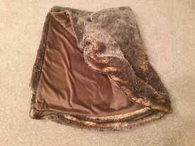 Brown Faux Fur Blanket / Throw - Excellent Condition