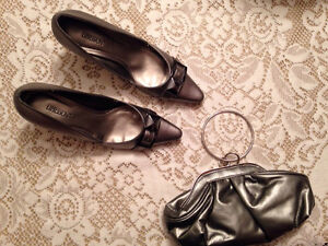 Metallic Pewter Shoes and Puse