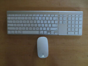 Apple keyboard, mouse and matching Belkin numeric keypad