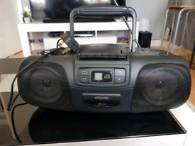 Hitachi CD radio cassette player with mains lead