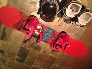 Snowboard boots helmet and goggles