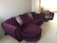 4 seater purple sofa/settee and chair