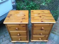 A PAIR OF SOLID PINE BEDSIDE CUPBOARDS PROJECT