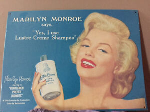 Marilyn Monroe tin sign.