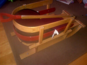 Vagabond All Wood Baby Sleigh - Cushion and Wooden Handle Incld.