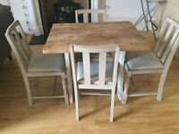 Shabby chic butcher block dining table and chairs