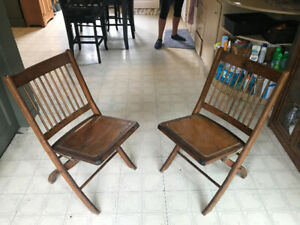 2 Antique Folding Wood Chairs