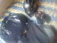 Motorbike Suit Armoured 100% WATERPROOF + GLOVES + HELMET + HEADPHONES !