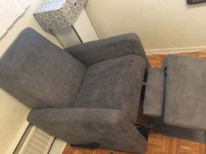 FULLY RECLINING GREY VELVET ARMCHAIR CHAIR - *GREAT CONDITION*