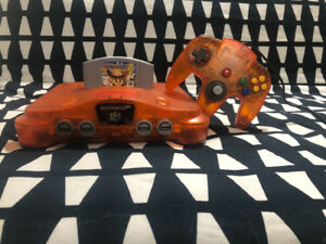 N64 console and controller *Rare Fire Orange*Game Not Included