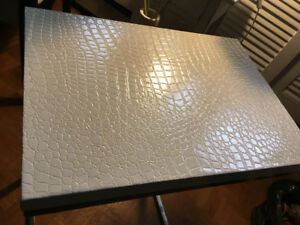 White Faux Leather top table