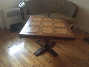 Vintage ceramic and solid wood coffee table
