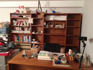 Teak 2 piece Book Shelf Wall Unit