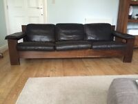 3 Seater black leather sofa, Danish 70's style