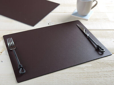 Set of 6 Brown EXTRA LARGE Leatherboard PLACEMATS