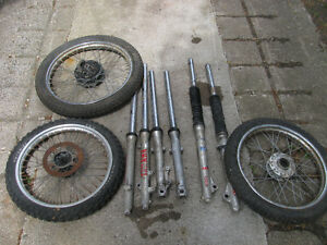 motorcycle forks and wheels