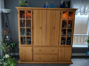 OAK CUSTOM CABINET,  MEDIA, CHINA, DISPLAY,  BOOK SHELF LIBRARY,