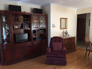 Pristine Solid Cherry Wood Wall Unit FOR SALE!