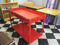 RED METAL TABLE TYPE BIN STURDY