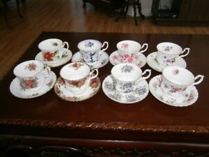 EIGHT LOVELY FLORAL ROYAL ALBERT CUP & SAUCERS