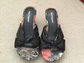 Hush Puppies slip on wedge heel sandals. Size 4.