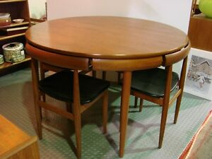 1970s Round Frem Rojle Teak Table 4 Chairs Mid Century Denmark