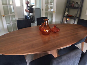 Solid walnut oval dining room table set - The Bay