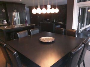 Solid Maple custom 6'x6' dining table with 8 chairs - $1,750 OBO