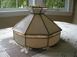 Antique Leaded Stained Glass Hanging Lamp