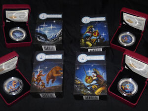 2015 Glow-In-The-Dark, Star Charts, Native Set Of 4 Silver Coins