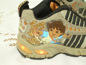 Go! Diego Light-Up Sneakers - Toddler Size 7 (2-3 yrs old)