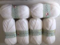 6x new king Cole price wise white double knit wool 100g balls