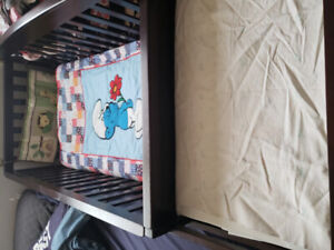 Crib attached change table