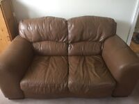 DFS brown leather 2 and 3 seater soars