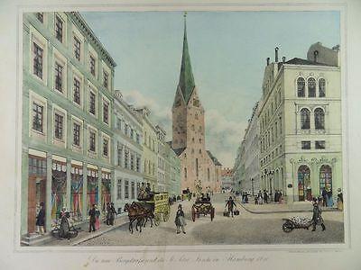 HAMBURG BERGSTRAßE ST. PETRI KIRCHE PETER SUHR LITHOGRAPHIE ANSICHT 1840 H22
