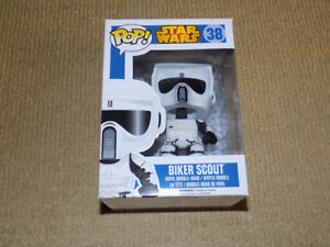 FUNKO, POP, BIKER SCOUT, VAULTED, STAR WARS #38, VINYL FIGURE