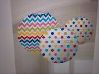 Pack of 3 rainbow dots and chevron paper lanterns