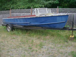 Vintage Aluminum Hull boat project on trailer