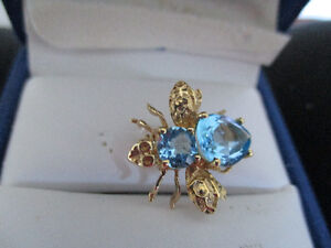 14 k Gold Ring with Sapphires