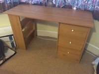 Pine effect desk with 3 drawers and built in shelves