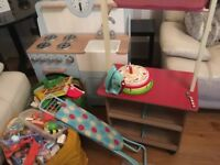 Kids wooden kitchen and shop - lots of extras