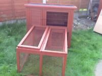 DOUBLE STOREY RABBIT HUTCH WITH SEPARATE RUN