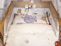 Brand New 3 pcs Baby Bedding Set Safari 90/120 cm,100/135 cm cot bed cover Bumper