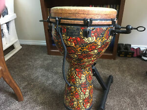 """Leon Mobley Signature 14"""" Djembe with stand"""