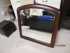 Large Framed Mirror with Walnut finish