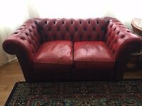 Vintage Leather Oxblood Chesterfield Large Two Seater Sofa - Armchair - Suites